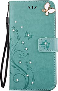 Huskylove Luxury 3D Relief Multi-Function Handmade Bling Rhinestone Soft Slim Flip Stand Wallet Case for iPhone 7p/8p 5.5 Flower Butterfly PU Leather Case for Girls Women-Green (Green, 7p)