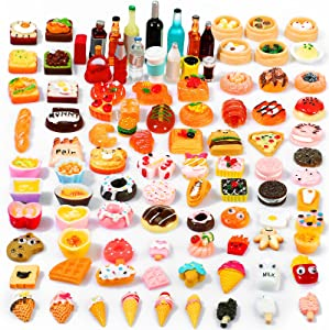 Skylety 100 Pieces Miniature Food Drinks Toys Mixed Resin Foods for Doll Kitchen Pretend Play Mini Food Set for Adults Teenagers Doll House