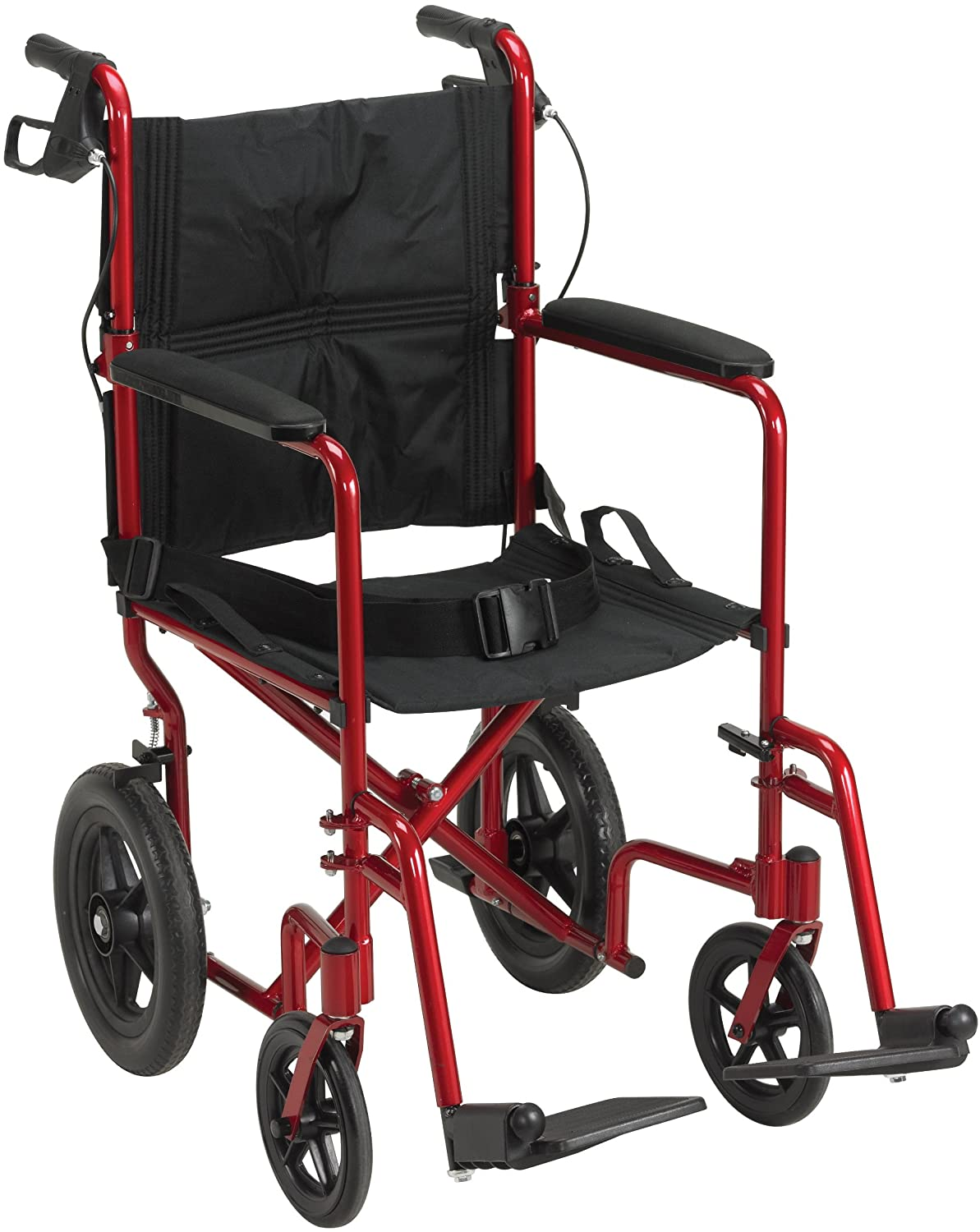 Drive Medical Lightweight Expedition Transport Wheelchair with Hand Brakes, Red 81MjkIA52OL