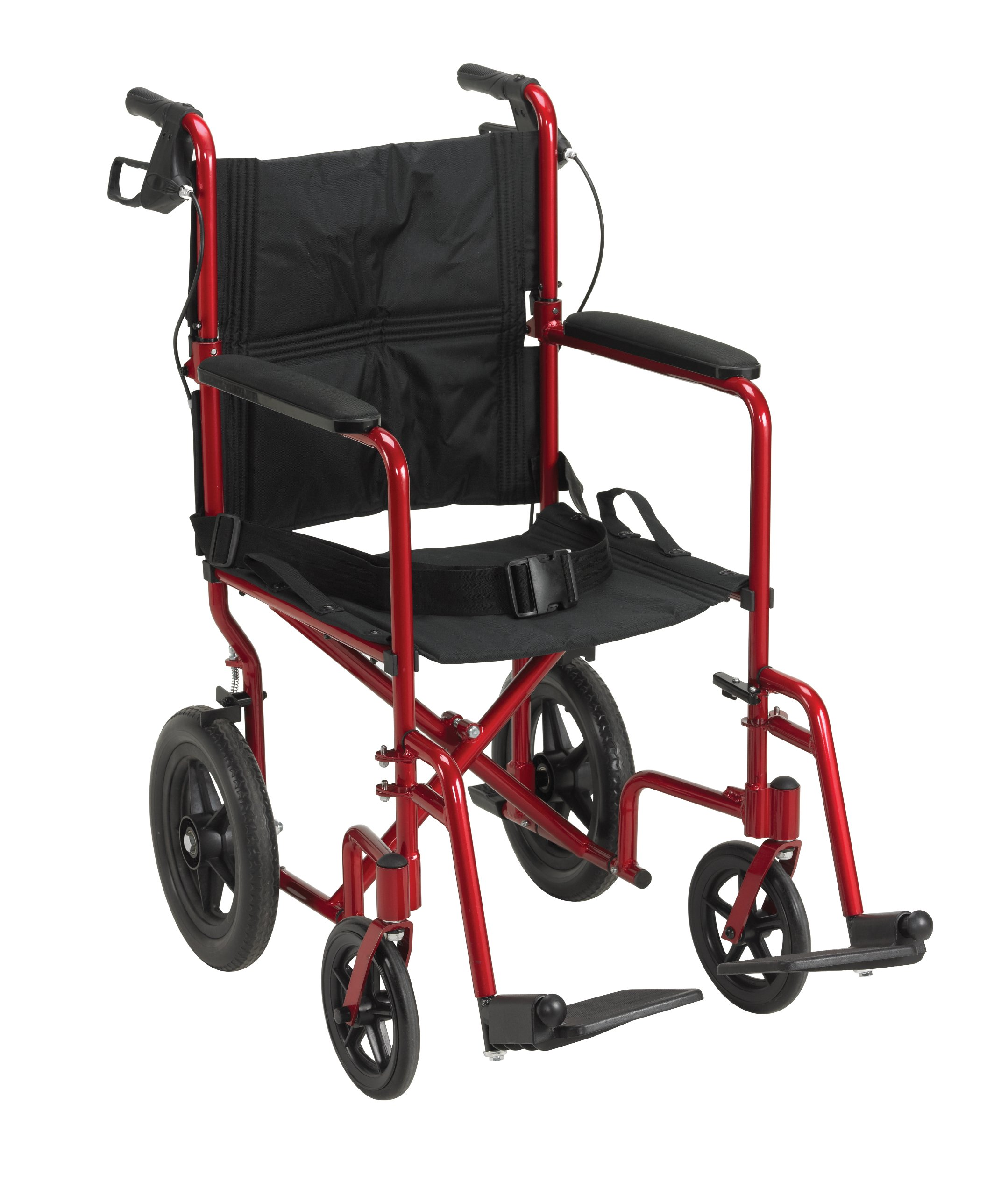 Drive Medical Lightweight Expedition Transport Wheelchair with Hand Brakes, Red by Drive Medical