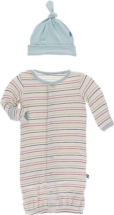 KicKee Pants Print Gown Converter /& Knot Hat Set