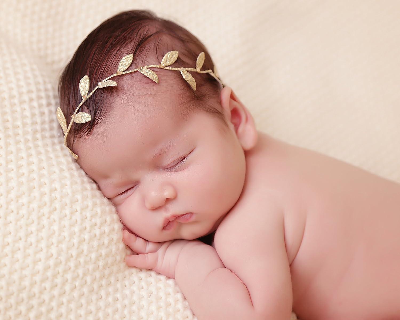Amazon.com  Gold Color Leaf Wrap Headband with Swarovski Rhinestones  Baby 2074830eaa0