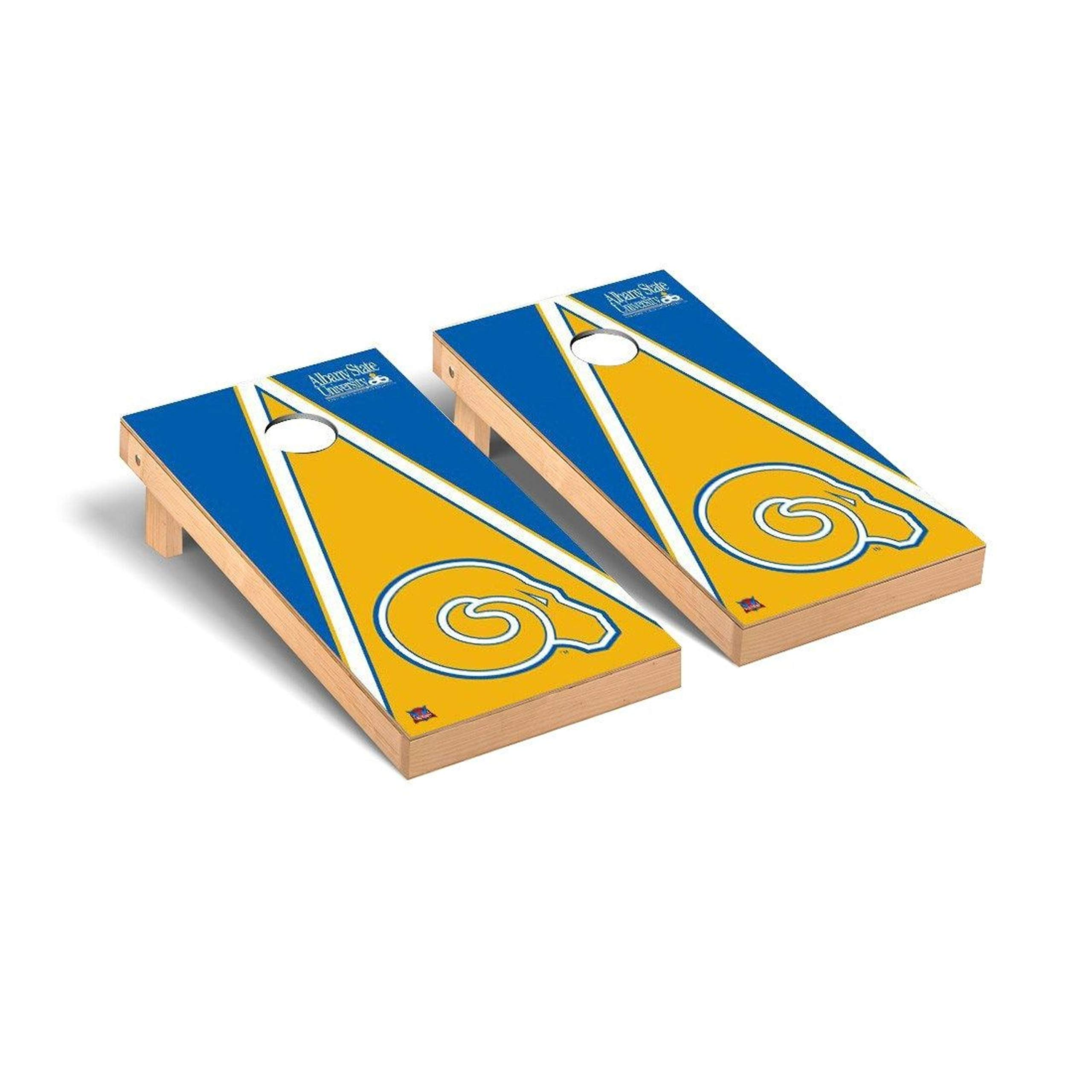 Victory Tailgate Regulation Collegiate NCAA Triangle Series Cornhole Board Set - 2 Boards, 8 Bags - Albany State Golden Rams