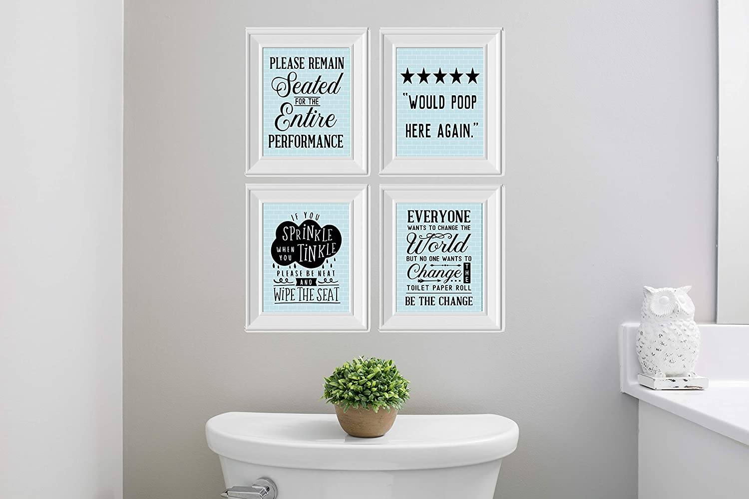 Amazon Com Twisted R Design Set Of 4 Funny Bathroom Wall Art Canvas Prints Blue Subway Posters Prints
