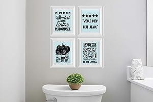 Twisted R Design Set of 4 Funny Bathroom Wall Art Canvas Prints (Blue Subway)