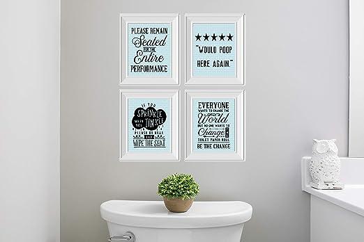 Amazon Com Twisted R Design Set Of 4 Funny Bathroom Wall Art Canvas Prints Blue Subway Posters Prints