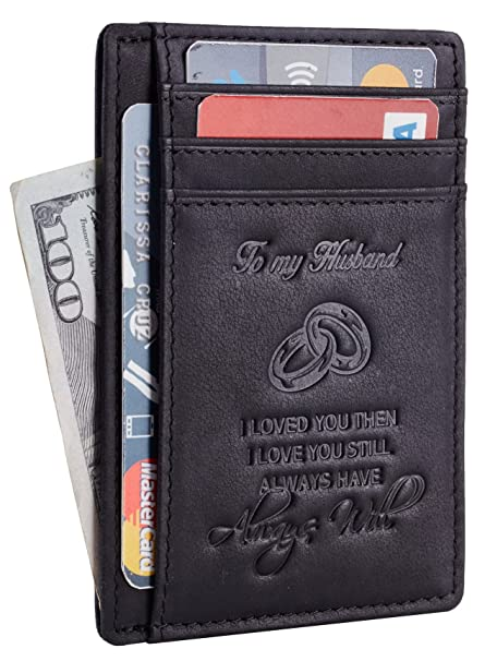 NapaWalli Wife To Husband Gift Best Anniversary Birthday Gifts For Him Genuine Leather RFID Blocking Slim