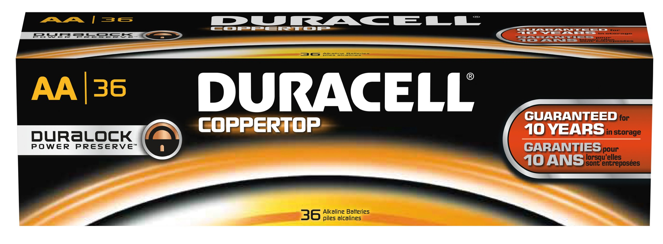 Duracell - CopperTop AA Alkaline Batteries - long lasting, all-purpose Double A battery for household and business - Pack of 36