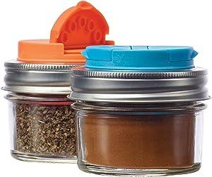 Jarware 82642 Spice Lids for Regular Mouth Mason Jars, Set of 2, Orange and Blue