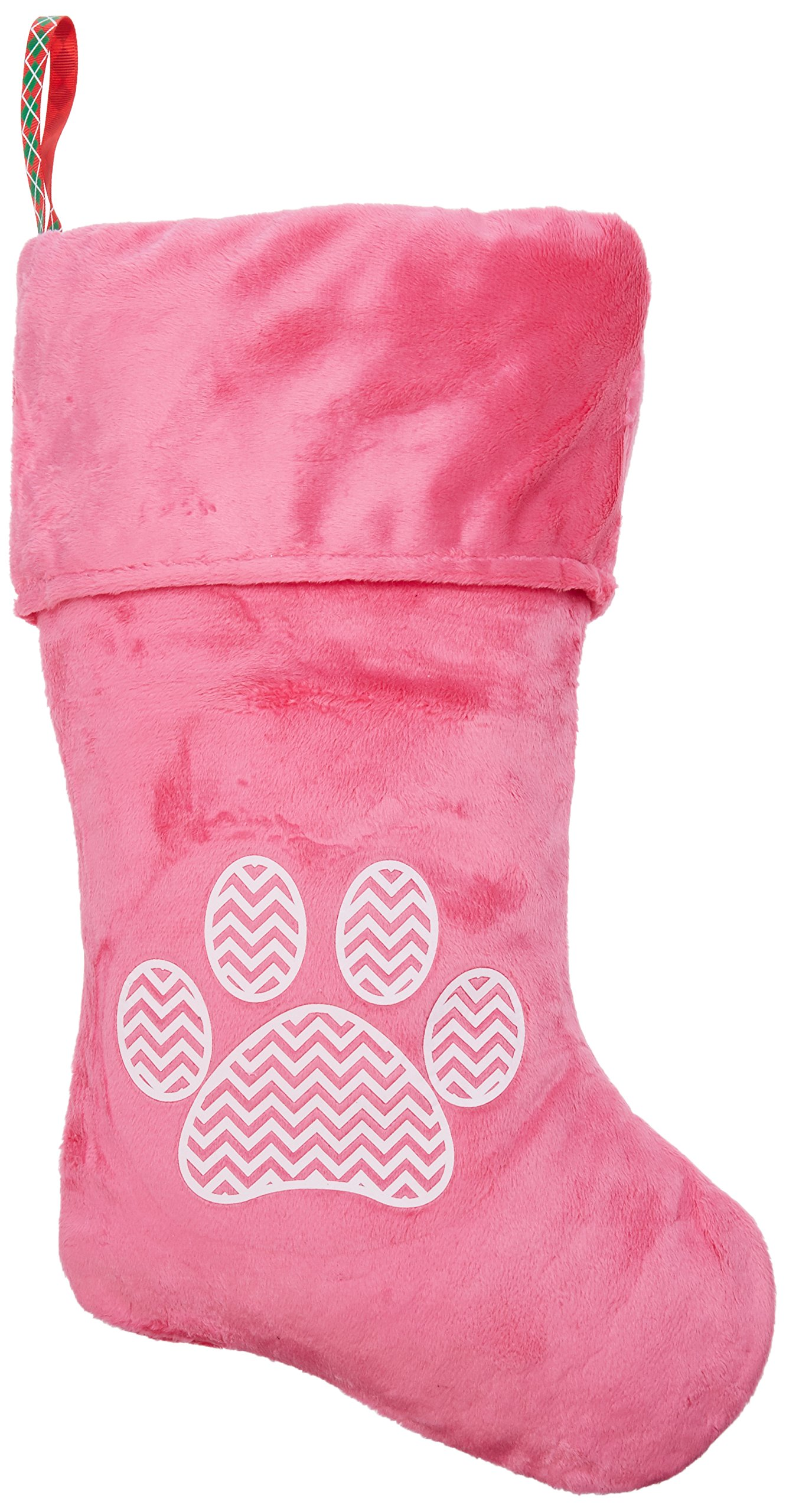 Mirage Pet Products Chevron Paw Screen Print Velvet Christmas Stocking, Size 18, Pink by Mirage Pet Products