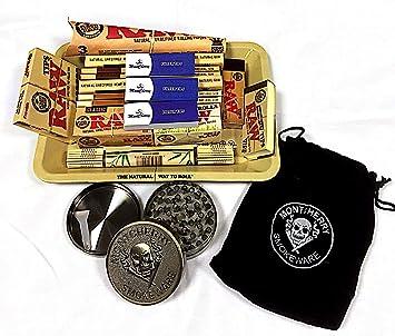 Set de regalo para fumador de la marca RAW, de estilo años 70, con bandeja de metal. Regalo ideal para ti o tus seres queridos: Amazon.es: Jardín