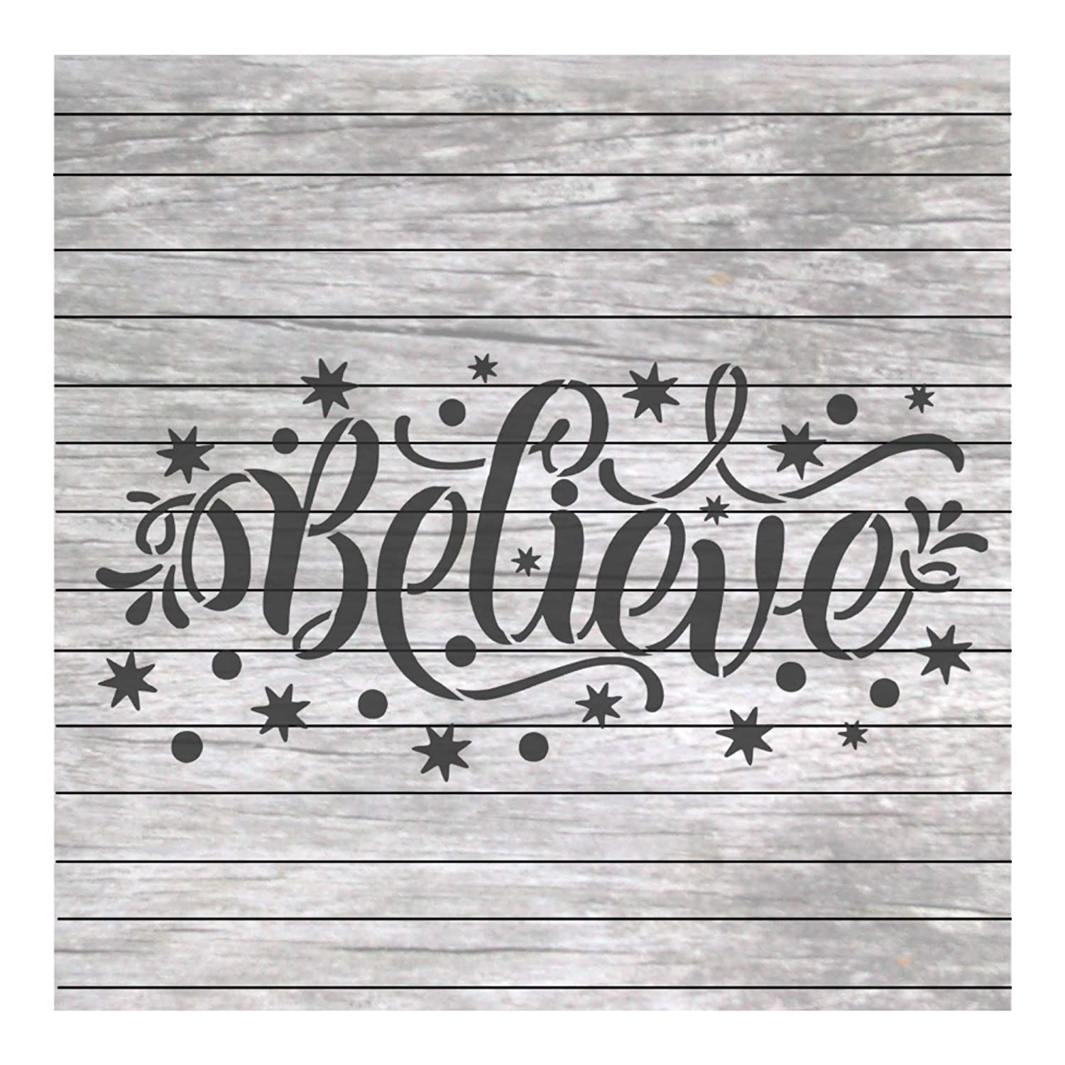 Christmas Winter Words Stencil Believe for Craft and Home Decoration Wood Signs NW019 Stencil Land