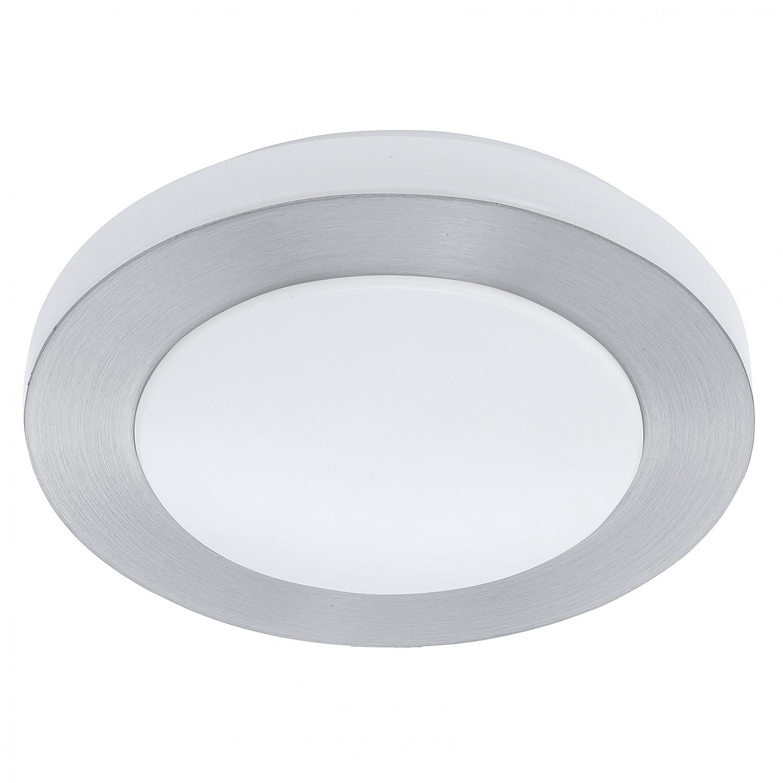EGLO LED Deckenleuchte LED Carpi Aluminium Gebürstet Weiß IP44   Inklusive Leuchtmittel  Wechselmodul 11W 850lm warmweiß   94967