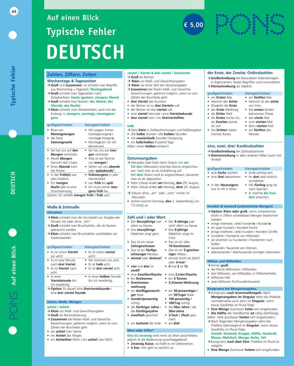 PONS Typische Fehler auf einen Blick Deutsch: kompakte Übersicht, effizient Fehler vermeiden (PONS Auf einen Blick)