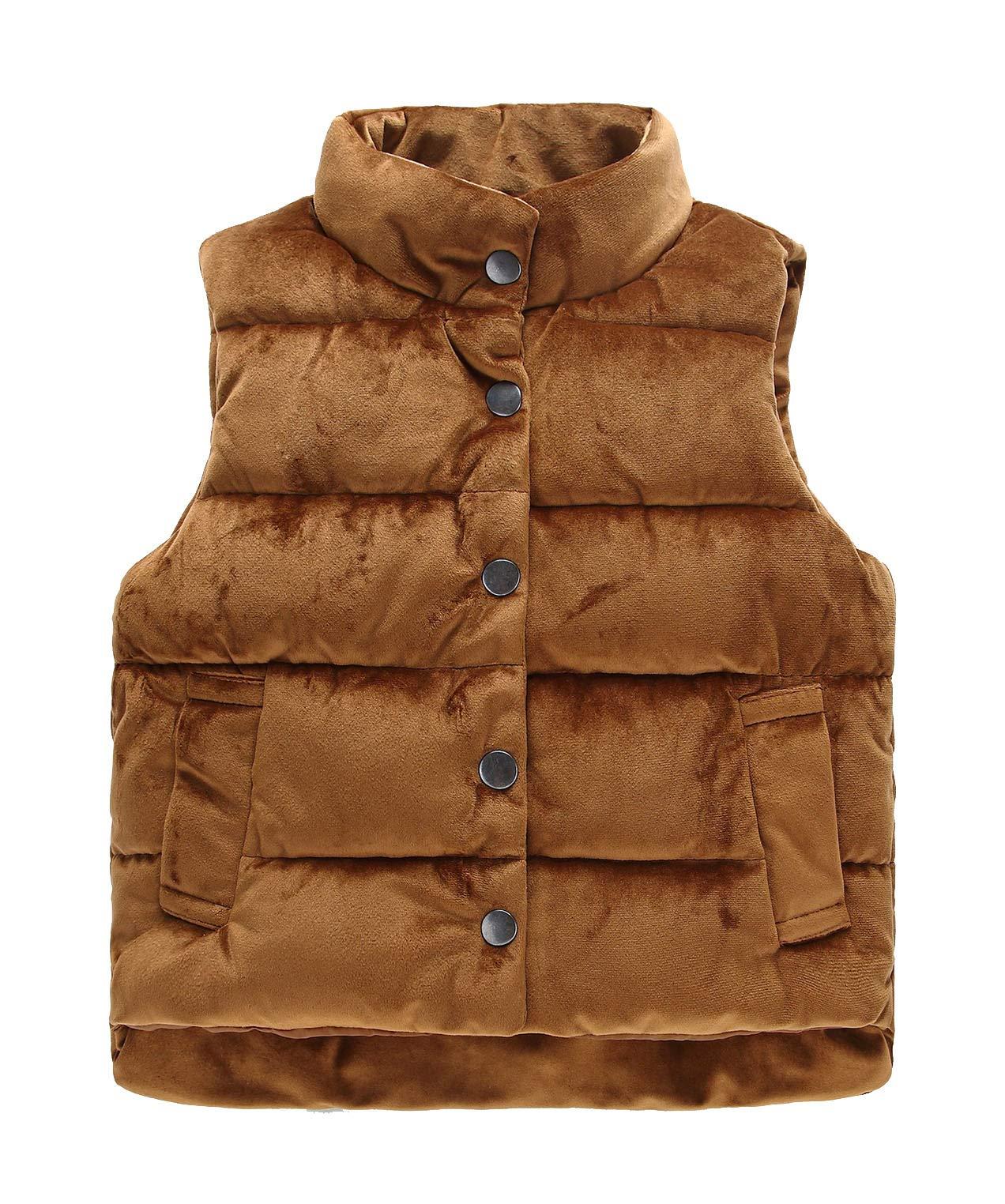 Roffatide Boys Girls Warm Stuffed Vest Lightweight Waistcoat Sleeveless Gilet Brown 140cm