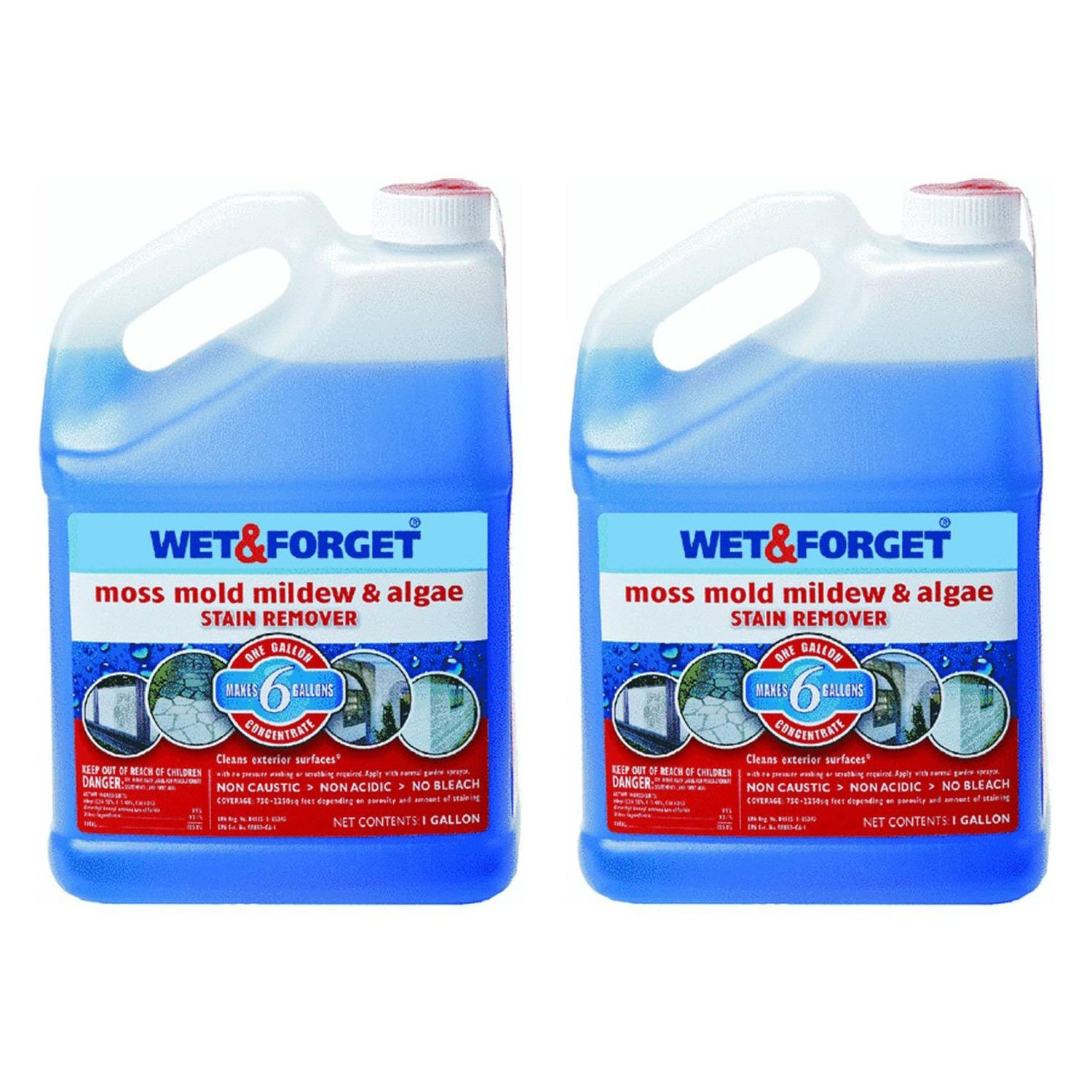 Wet and Forget 800006 1 Gallon Outdoor Moss Mold Mildew Cleaner Remover, 2-Pack