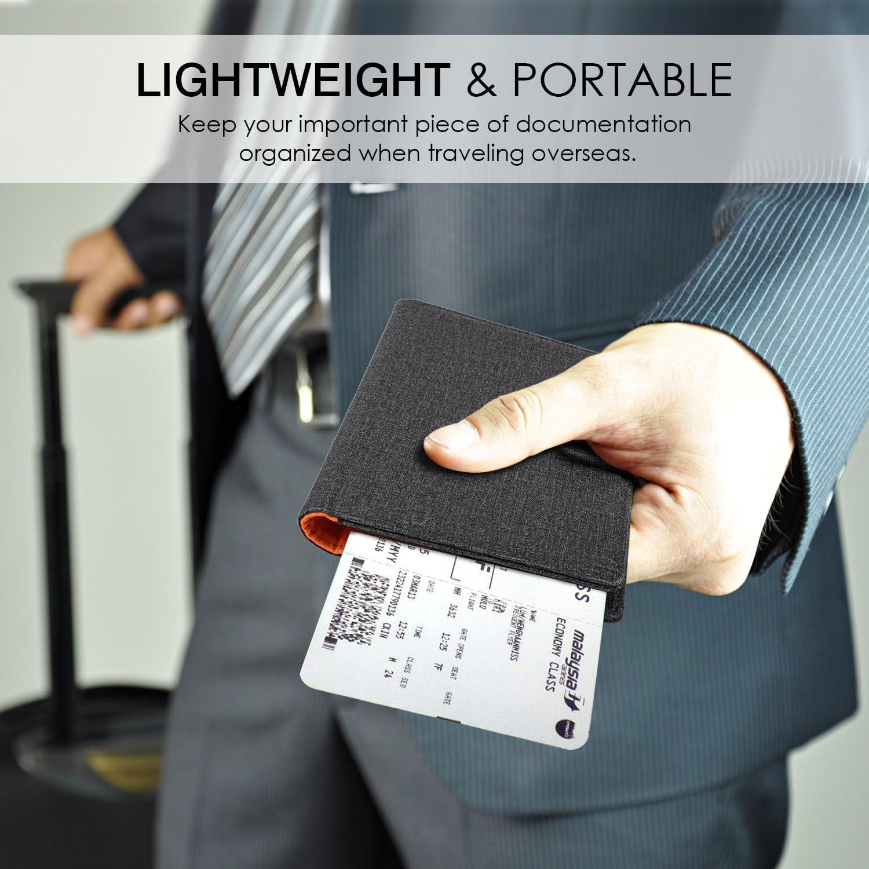 Dark Brown MoKo RFID Blocking Passport Holder PU Leather Wallet Case Cover