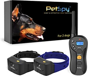PetSpy P620B Dog Training Shock Collar for 2 Dogs with Vibration, Electric Shock, Beep; Fully Waterproof Remote Trainer with Two E-Collars, 10-140 lbs