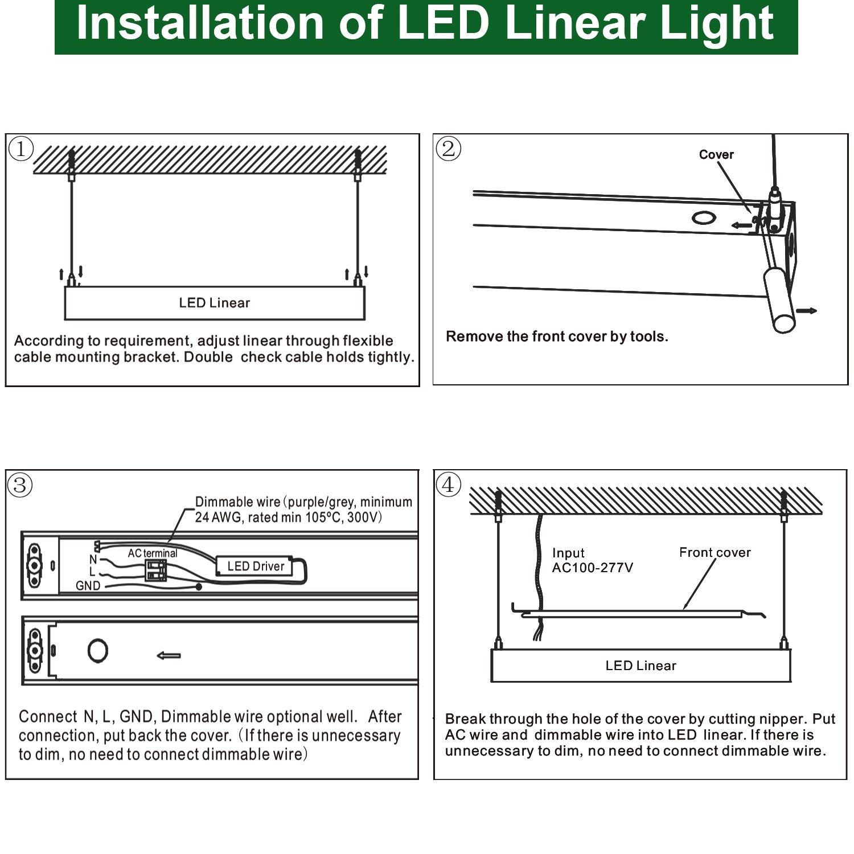 Hykolity 4ft 40w Linkable Led Architectural Ceiling 277v Lighting Wiring Diagram Light Modern Linear Suspension Pendant Lamp Fixture 4600lm 5000k Daylight White