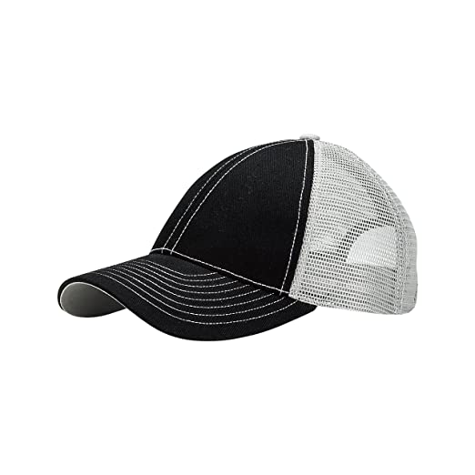 165042daf903e MG Unisex Low Profile (Str) Trucker Cap-7641-BLK-GRY at Amazon Men s Clothing  store