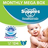 Supples Baby Diaper Pants, Monthly Mega-Box, Large, 124 Count