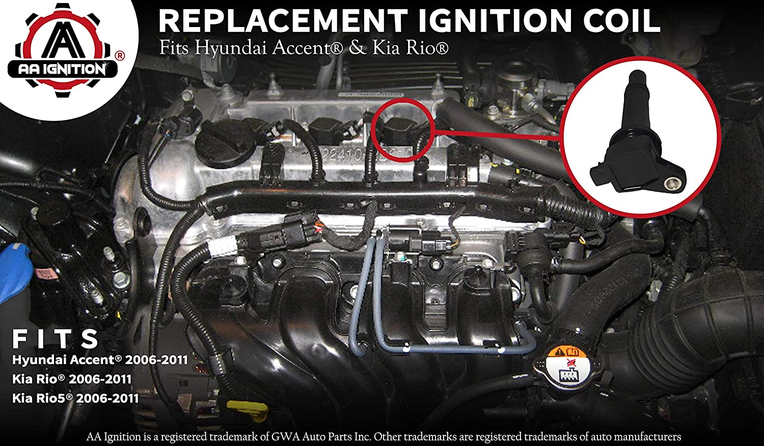 amazon com: ignition coil pack - fits hyundai accent, kia rio - replaces  27301-26640 - ignition coil pack fits 2010 hyundai accent, 2009 hyundai  accent,