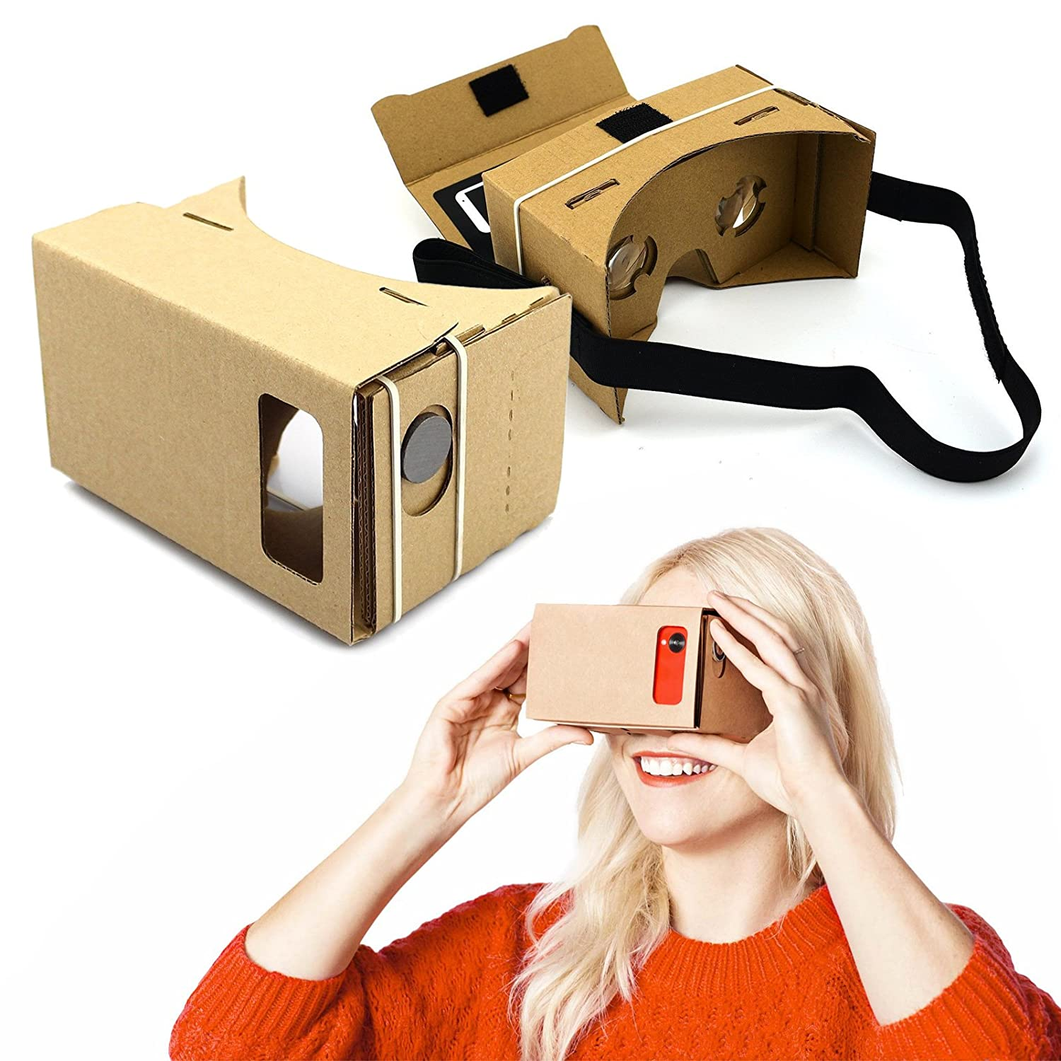 DMG VR Google Cardboard 3D VR Virtual Reality DIY Glasses For 3D Movies and  Games Compatible with Android & Apple Up to 6 Inch Easy Setup Machine
