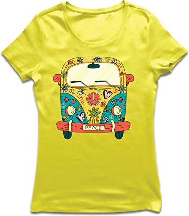 lepni.me Camiseta Mujer Años 60 70 Hippie Van, Flores, Amor, símbolo de Paz Libertad: Amazon.es: Ropa y accesorios