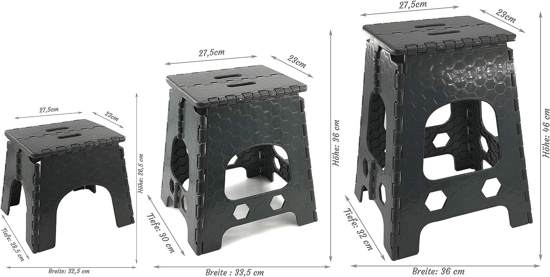 Sitzhocker aus Kunststoff Klein - 32,5 x 28,5 x 26,5 cm ver Stabiler Tritthocker//Klapphocker zusammenklappbat Campinghocker H/öhen bis 120kg Hocker mit Griff anthrazit
