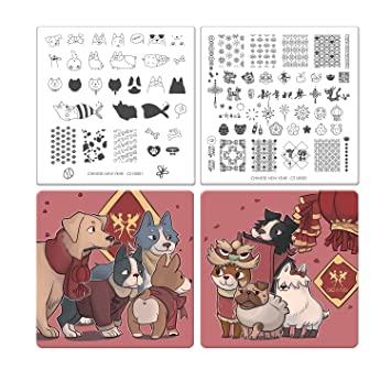 cicisisi dogs nail art stamping plates kit stamp plate manicure diy template 2 pieces chinese