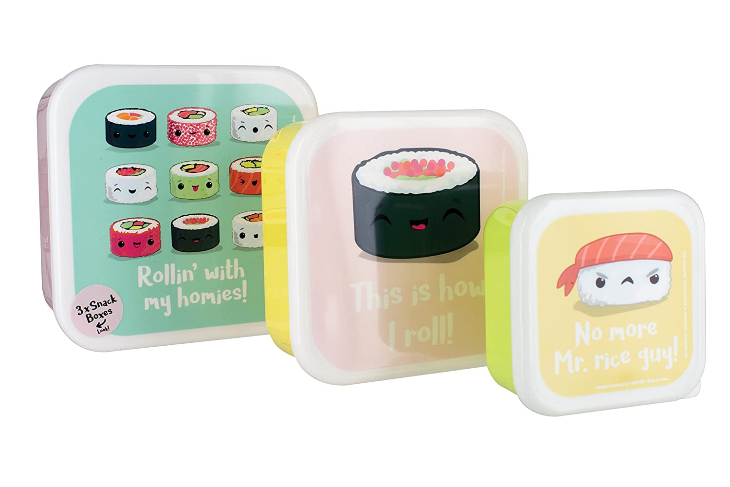 Paladone My Kawaii Sushi Snack Boxes, Multi-Colour, 14 x 14 x 6 cm