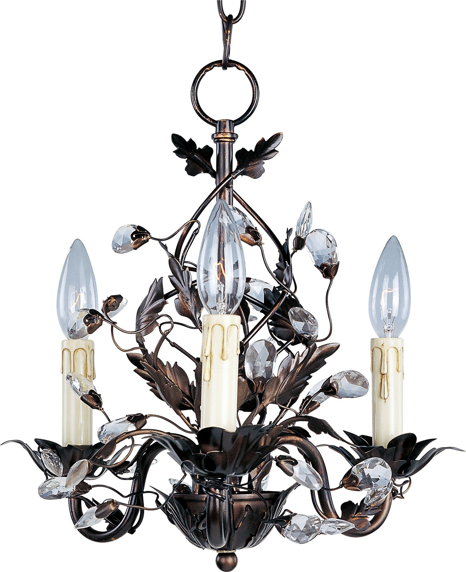 Maxim 2855OI Elegante 3-Light Chandelier Single-Tier Chandelier, Oil Rubbed Bronze Finish, Glass, CA Incandescent Incandescent Bulb , 60W Max., Wet Safety Rating, Standard Dimmable, Glass Shade Material, 672 Rated Lumens by Maxim Lighting (Image #1)