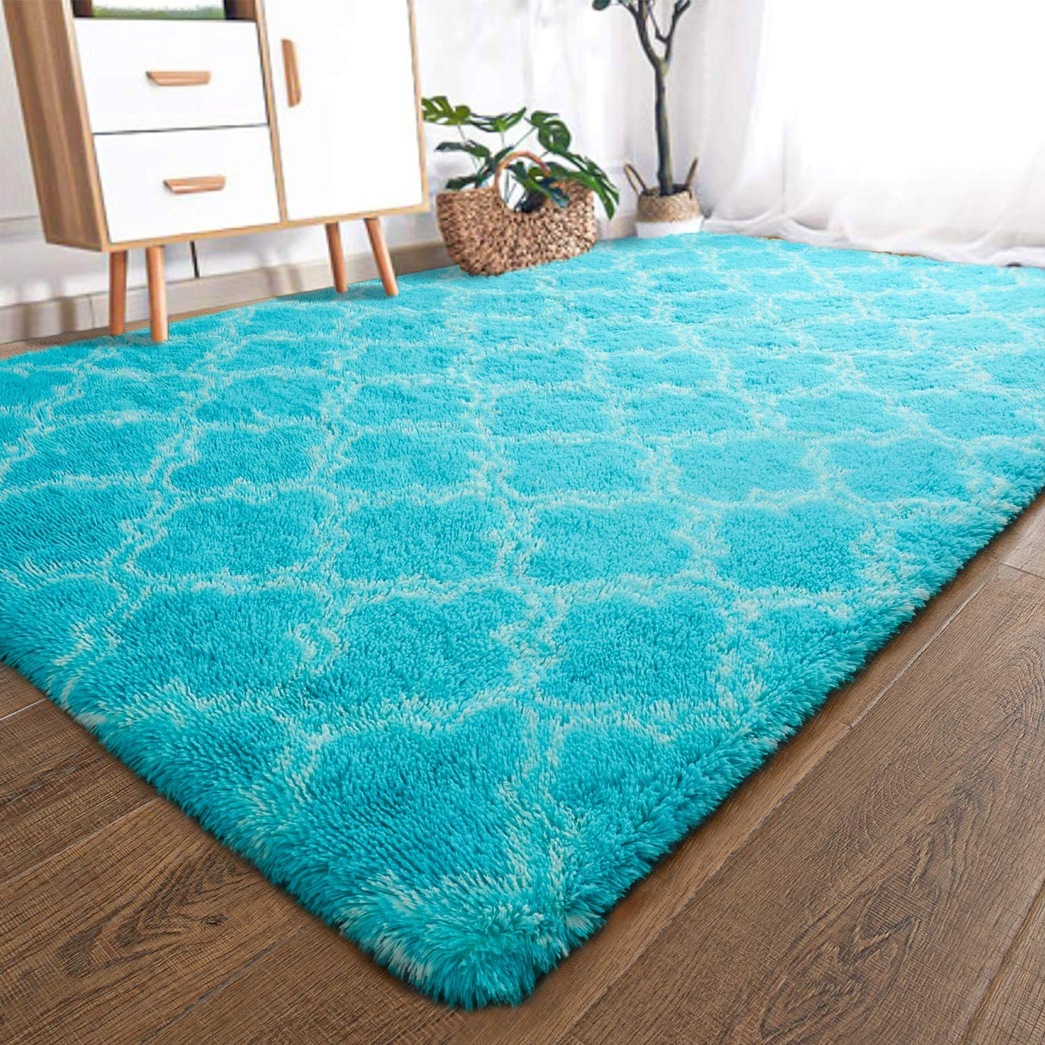 YOH Modern Soft Fluffy Shaggy Area Rug for Bedroom Living Room Indoor Home Decorative Accent Floor Carpet, Rectangle Non-Slip Plush Furry Fur Rugs for Dorm Kids Room Baby Nursery 5x8 Feet, Teal