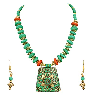 c96b18244 Buy Sitashi Green Color Beads Hand Made Necklace & Earrings Set For Girls  and Women Online at Low Prices in India | Amazon Jewellery Store - Amazon.in