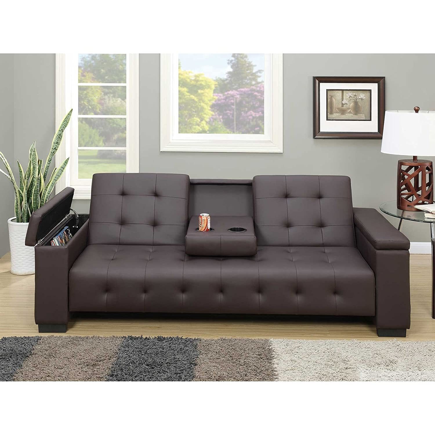 Adjustable futon sofa bed matte finished faux leather upholstery fold down center console contemporary style pine wood particle board armrest storage