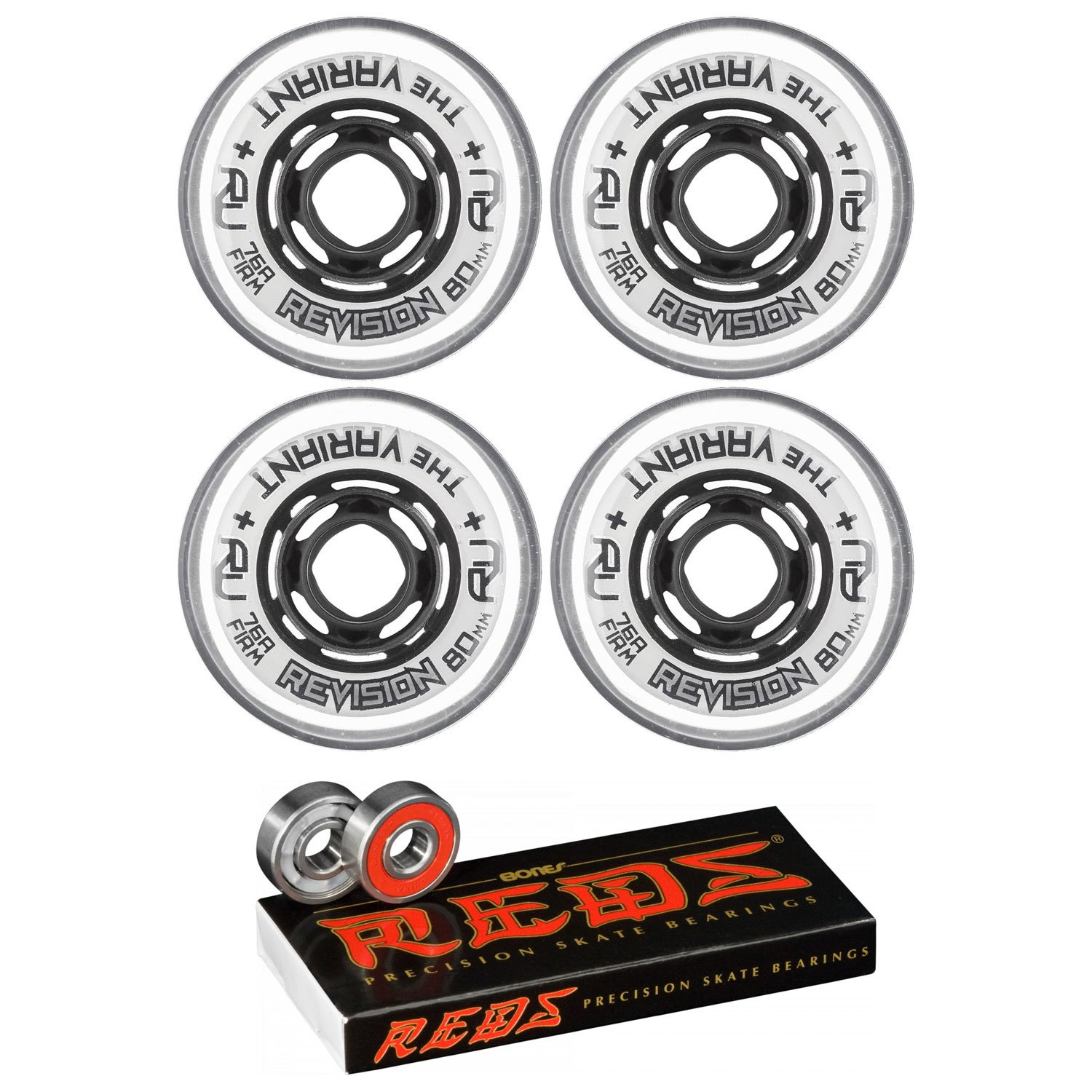 Revision Wheels Inline Roller Hockey Variant 80mm 76A 4-Pack with Bones Bearings