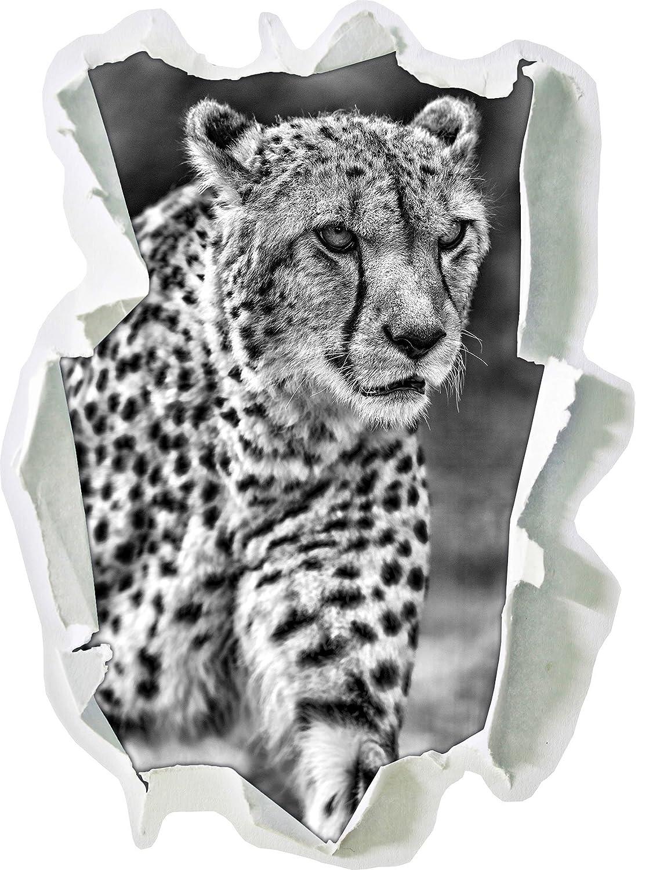 Monocrome, tapi guépard sur prairiePapier aspect 3D, la taille de la vignette mur ou de porte: 92x67cm, stickers muraux, sticker mural, décoration murale Stil.Zeit