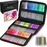 Gel Pens for Adult Coloring Books, 122 Pack Artist Colored Gel Marker Pens Set with 40% More Ink for Kids Drawing Note…