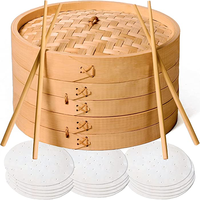 Bamboo Steamer Basket 10 Inch - Handmade 2 Tier Dumpling Steamer with Lid for Asian Cooking Dim Sum, Vegetables, Rice, Fish - 50 Bamboo Steamer Liners with 2-Pairs of Chopsticks