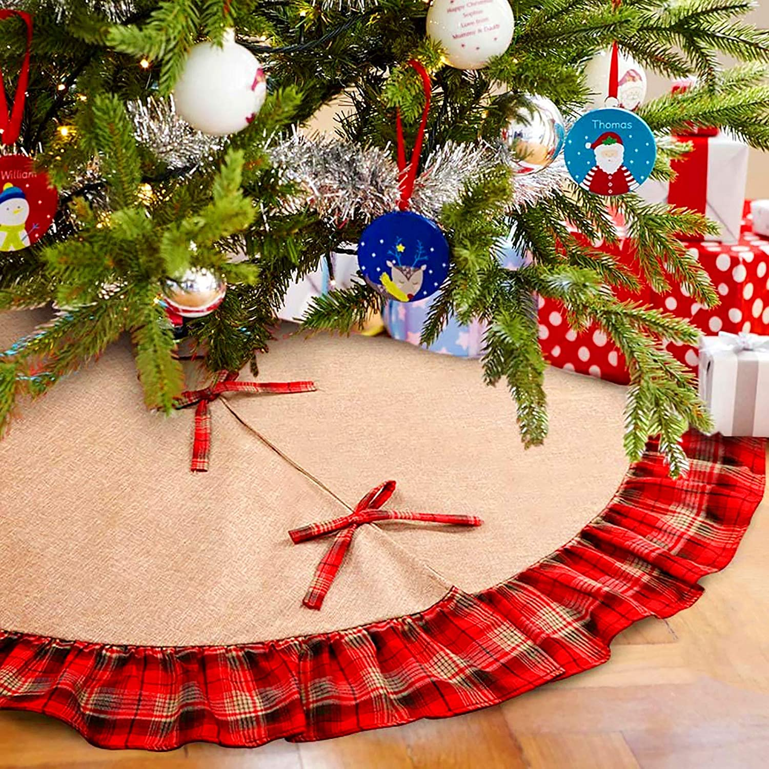 Cneng Christmas Tree Skirt 48 Inch Black and Red Buffalo Plaid Ruffle Tree Skirt Double Layers Burlap Tree Skirt for Christmas Home Decor New Year Party Holiday Decoration