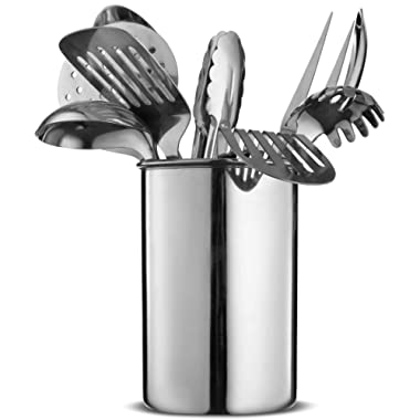 FineDine Premium Stylish 10-Piece Kitchen Utensil Set, Modern Stainless Steel Gadgets for Everyday Cooking - Turner, Spaghetti Server, Ladles, Spoons, Tong, Meat Fork, and Tool Set Holder