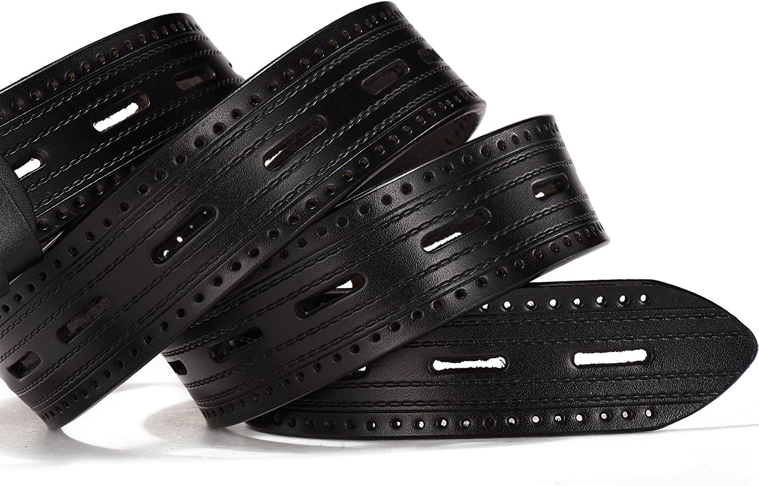 Big /& Tall Sizes ZHITD Mens Dress Leather Belt with Flat Big Holes 38mm Wide