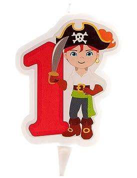 Générique - Vela de cumpleaños pirata - Número 1 (7 cm ...
