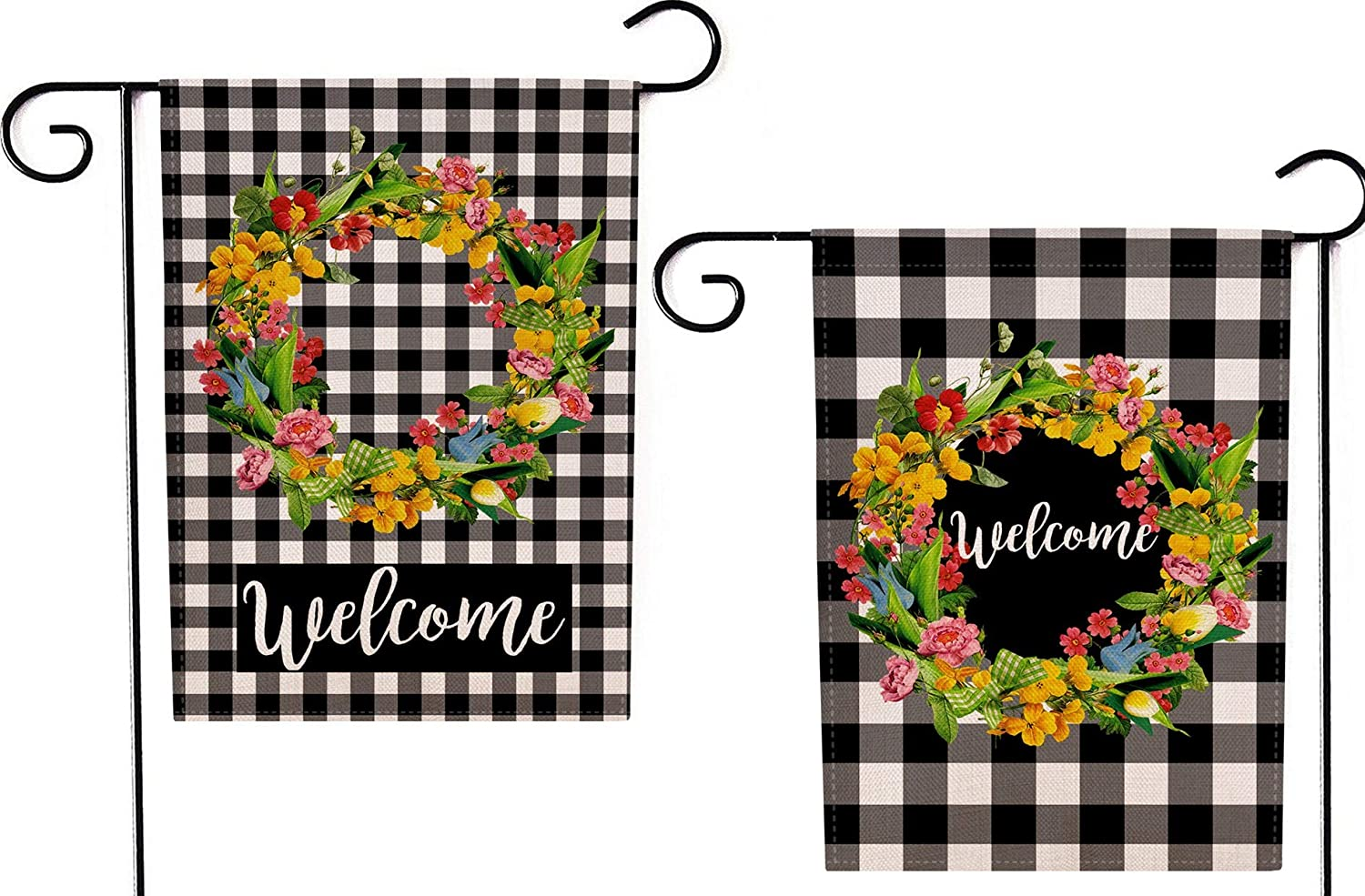 YaoChong Home Decorative Spring Summer Fall Welcome Flower Wreath Garden Flag,Autumn Buffalo Check Plaid Rustic Burlap Black White Decorative Double Sided Farmhouse Holiday Decorations 12.5 x 18 inch
