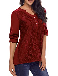 5c6cf49ec569a Murimia Women s V Neck Lace Cuffed Long Sleeve Casual Blouses Shirt Tops