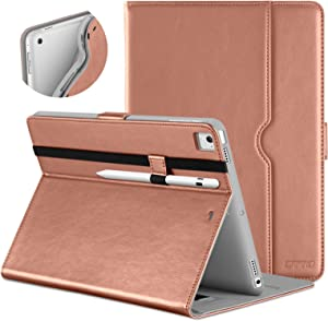 DTTO New iPad 9.7 Inch 5th/6th Generation 2018/2017 Case with Apple Pencil Holder, Premium Leather Folio Stand Cover Case for Apple iPad 9.7 inch, Also Fit iPad Pro 9.7/Air 2/Air - Rose Gold