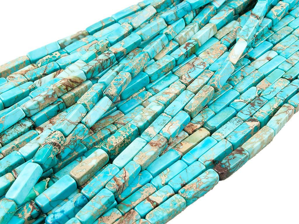Beads Ok, Abalorios Cuentas Piedra Jaspe Imperial Azul Turquesa Teñido Cuadrilátero Prisma 4x4x13mm~40cm un Tira, Vendido por Tira. Quardrilateral Prism Turquoise Blue Color Imperial Jasper Beads.