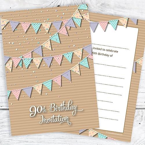 90th birthday invitations amazon 90th birthday party invitations pastel bunting design postcard style ready to write filmwisefo