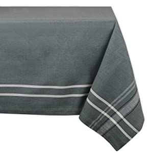 """DII 100% Cotton, Machine Washable, Everyday French Stripe Kitchen Tablecloth For Dinner Parties, Summer & Outdoor Picnics - 60x84"""" Seats 6 to 8 People, Gray Chambray"""