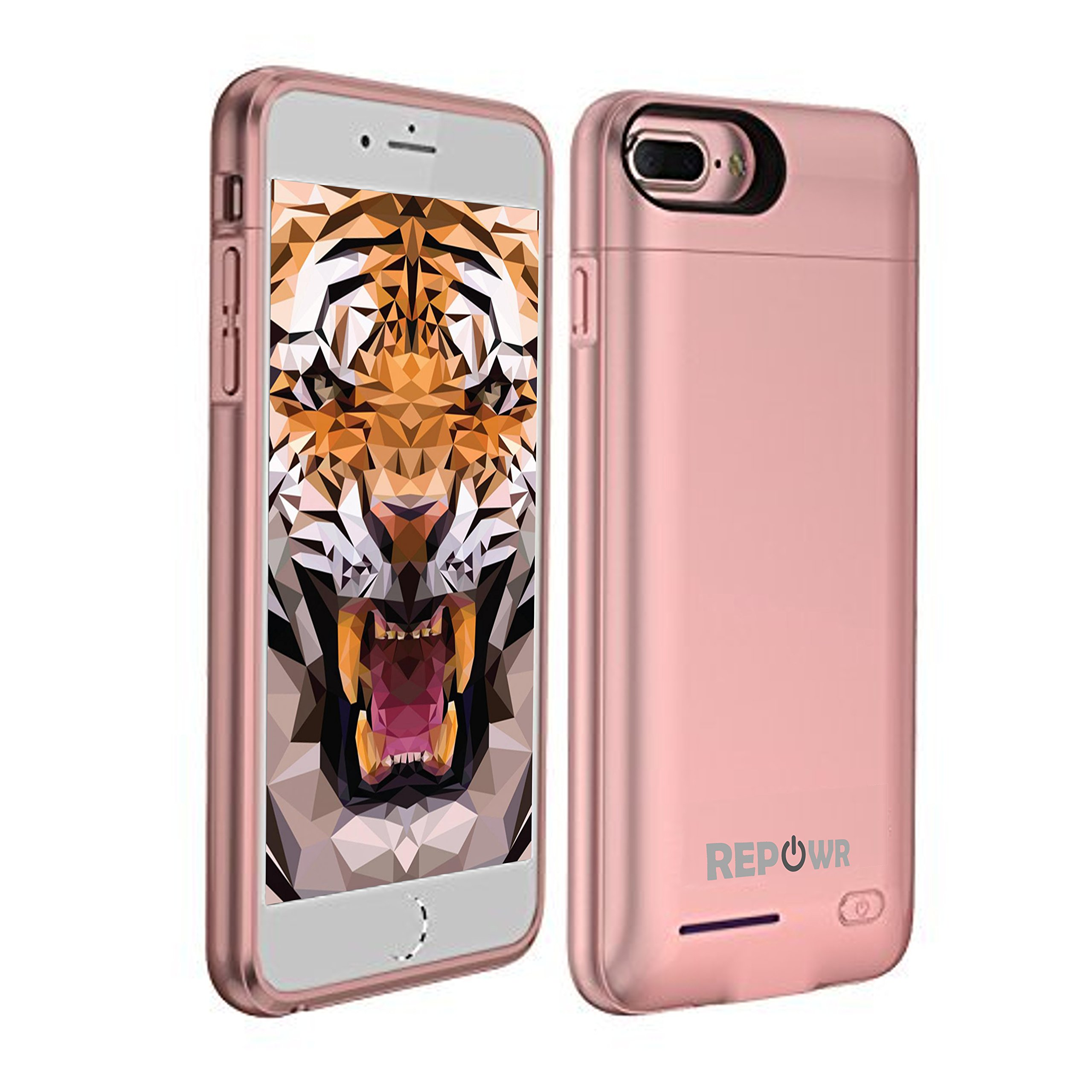 REPOWR Brand Battery Charger Case Compatible with Apple iPhone 8 Plus / 7 Plus / 6s Plus / 6 Plus - 4200mAh - Magnetic Protective Case - Portable + Slim with External Battery Rechargeable (Rose Gold)